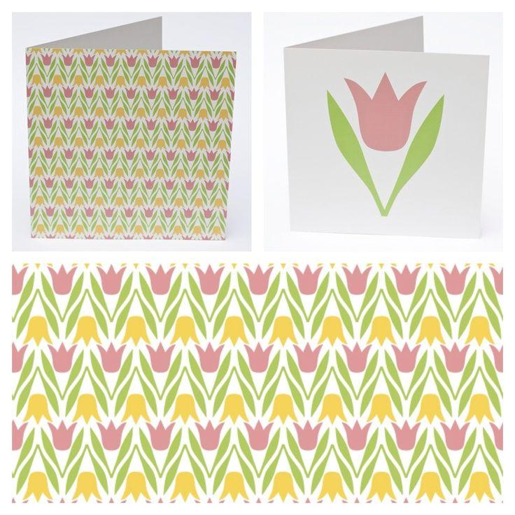 Dubbelvikta kort med kuvert 150x150 mm. Motiv: Tulpanrabatt rosa/gul och Tulpan rosa. Cards with tulip pattern and single tulip. | Kalasfint by Maria Stenvall