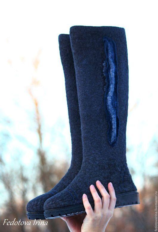 """Обувь ручной работы. Ярмарка Мастеров - ручная работа. Купить Сапоги """"Classic gray"""".. Handmade. Темно-серый, сапоги валяные"""