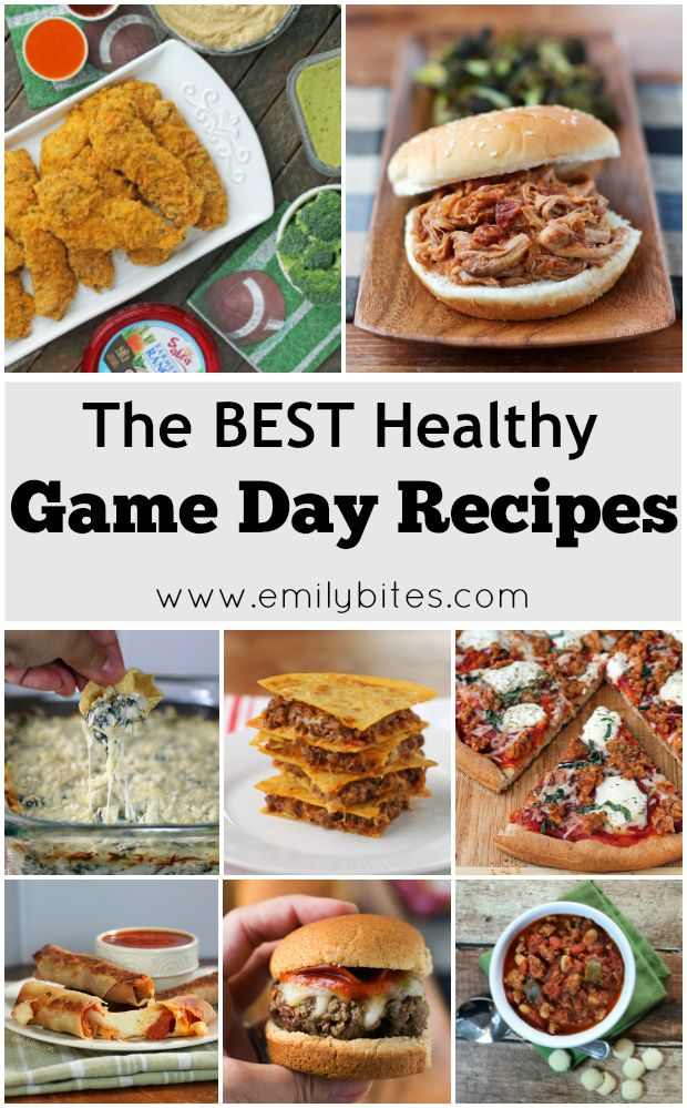 The BEST Healthy Game Day Recipes: finger foods, dips, soups, chili, slow cooker meals, pizza and more! Perfect for a football party and lightened up.