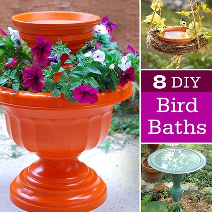 8 DIY Bird Baths | Spoonful... Never been a bird bath person but I love the orange one!!