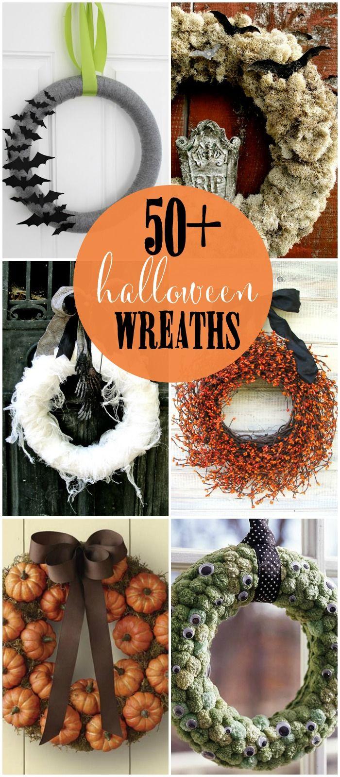 50+ DIY Halloween Wreaths - so many great ideas! { lilluna.com } #halloween