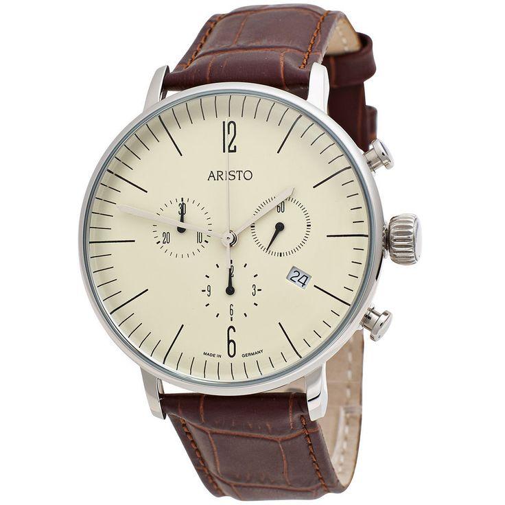 Aristo Herren-Armbanduhr Bauhaus Quarz Chronograph Edelstahl Lederband Mehr