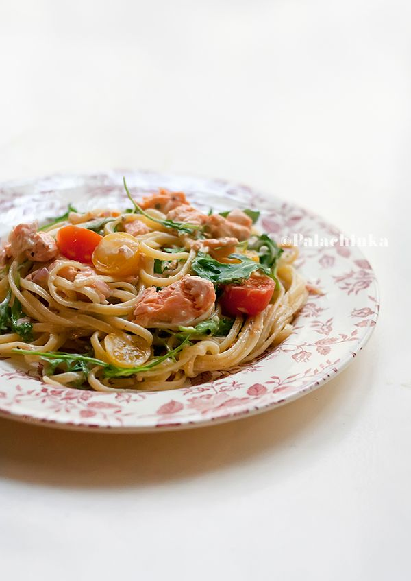 Salmon, Arugula and Cherry Tomato Linguine (replace with canned salmon and lemon zest for easier recipe)
