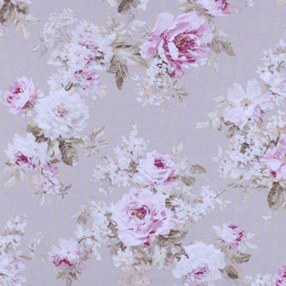 Dekorační látka Květy velké růžové na béžové