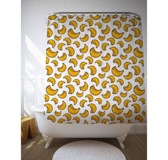 Bath Accessories, Tropical Shower, Banana Art, Yellow Decor, Kids Bathroom. Graphics by Sara Puig.  Personalise your bathroom with this banana art