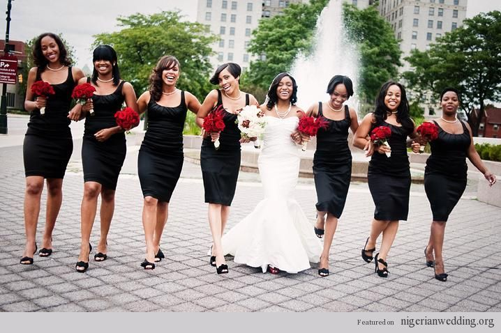 Nigerian Wedding Colors: Elegant & Stylish Black Bridesmaids Styles |