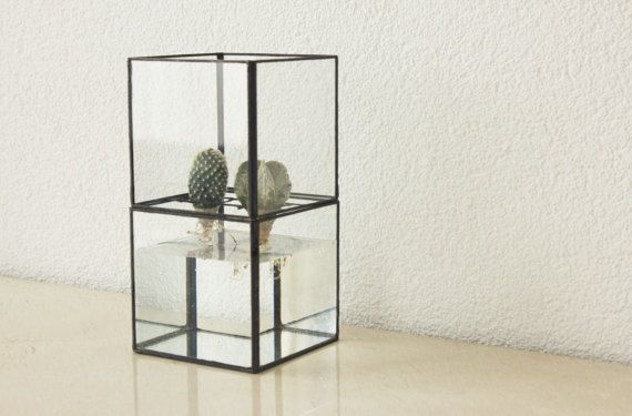 Geometric glass terrarium including cactus, Indoor planter, Minimalistic, Succulent, Glass planter, Tiffany stained glass, Gift