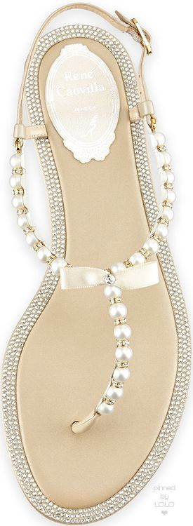 Rene Caovilla Crystal-Trimmed Pearly Thong Sandal