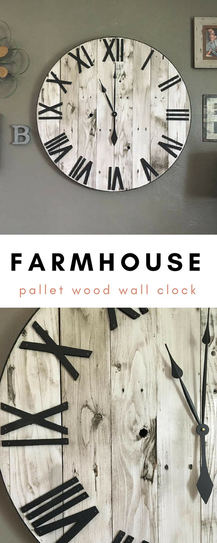 This Farmhouse style oversized wall clock would look so great on my living room wall, love the look of this! #ad #farmhouseclock #oversizedclock #rusticclock #largewoodenclock