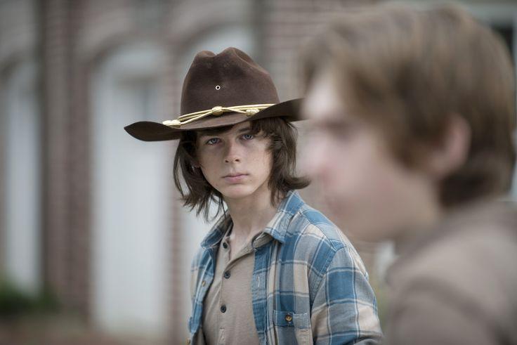 Chandler Riggs as Carl Grimes and Austin Abrams as Ron - The Walking Dead _ Season 6, Episode 7 -