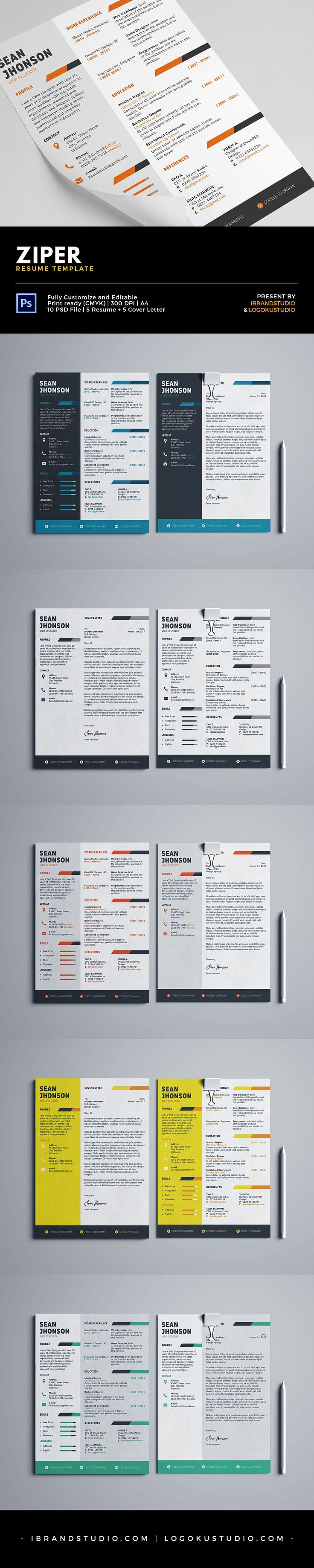 Chronological Resume Samples%0A Free Ziper Resume Template and Cover Letter  PSD