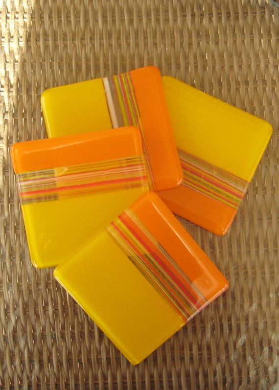 Yellow+Glass+Coasters+Orange+and+Yellow+Fused+Glass+by+GlassCat,+$25.00