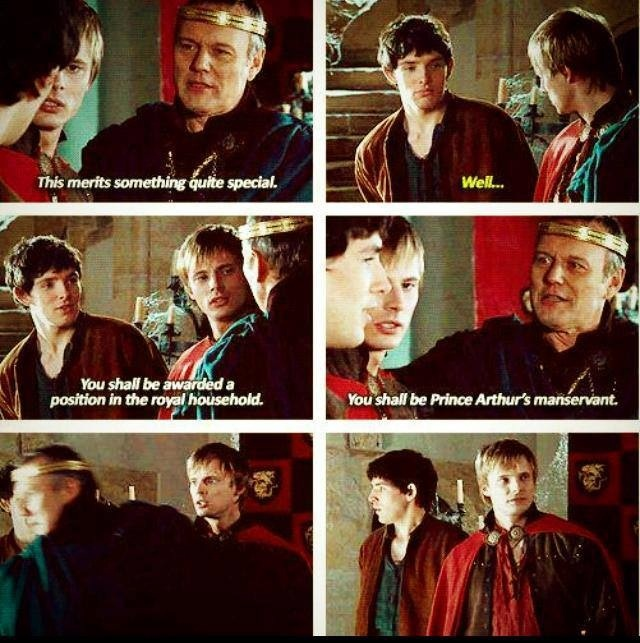 The elation on Arthur's face is indescribable ... I'm sure Merlin is thinking the same in his head.