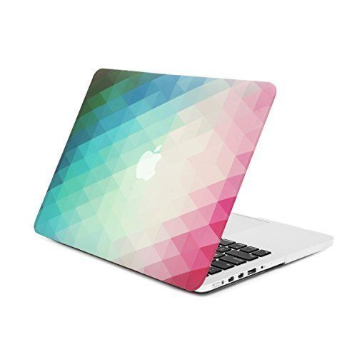 "Unik Case Green/Pink Gradient Ombre Triangular Galore Graphic Ultra Slim Light Weight Matte Rubberized Hard Case Cover for Macbook Pro 13"" 13-inch with Retina Display Model: A1425 and A1502"