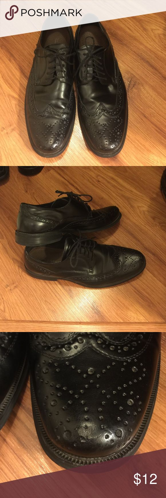 Men's shoes Wing tip black dress shoes. Laces. Does have some scratches as shown in pictures. Call It Spring Shoes