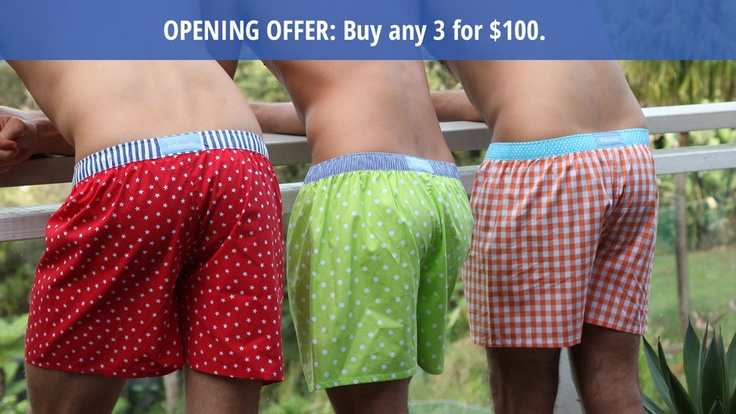 Boxer Shorts - Opening Special: Buy any 3 for $100.