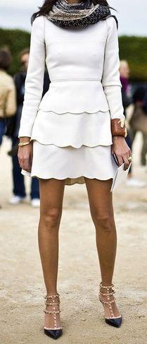 White scallops + studded heels courtesy of Valentino .