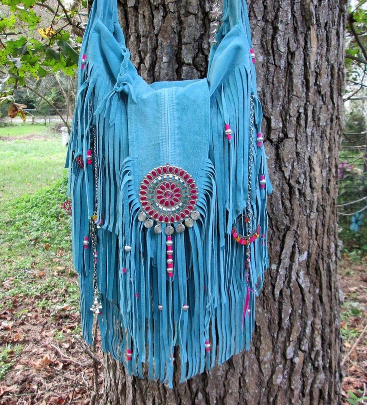 Handmade Turquoise Fringe Bag Silver & Hot Pink Gypsy Boho by ShellB  #Handmade #ShoulderBag