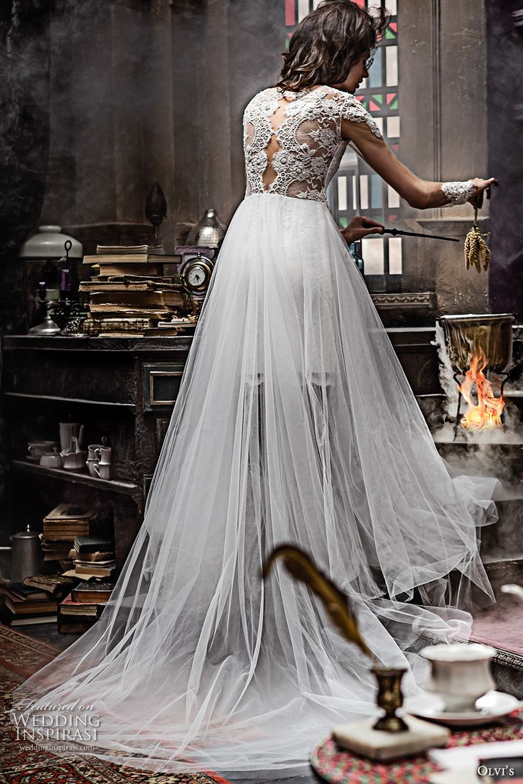 olvis 2017 couture bridal cap sleeves illusion bateau sweetheart neckline heavily embellished bodice tulle skirt romantic princess a  line wedding dress lace back chapel train (2291) bv