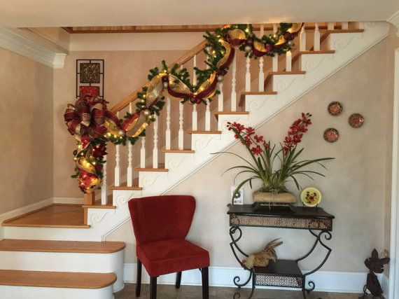Christmas Stairway Garland Lighted Swag By GiftsByWhatABeautifu
