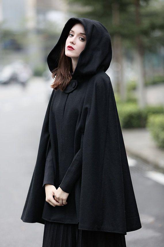 Black Hooded Wool Coat ,Wool Cloak Cape, Cashmere Women Wool Winter Coat Long Jacket, Christmas Gift Coat, Black Cashmere Coat Cape Cloak