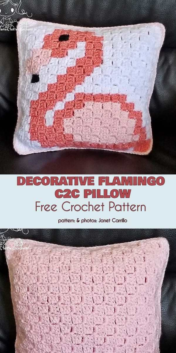 Decorative Flamingo C2C Pillow Free Crochet Pattern