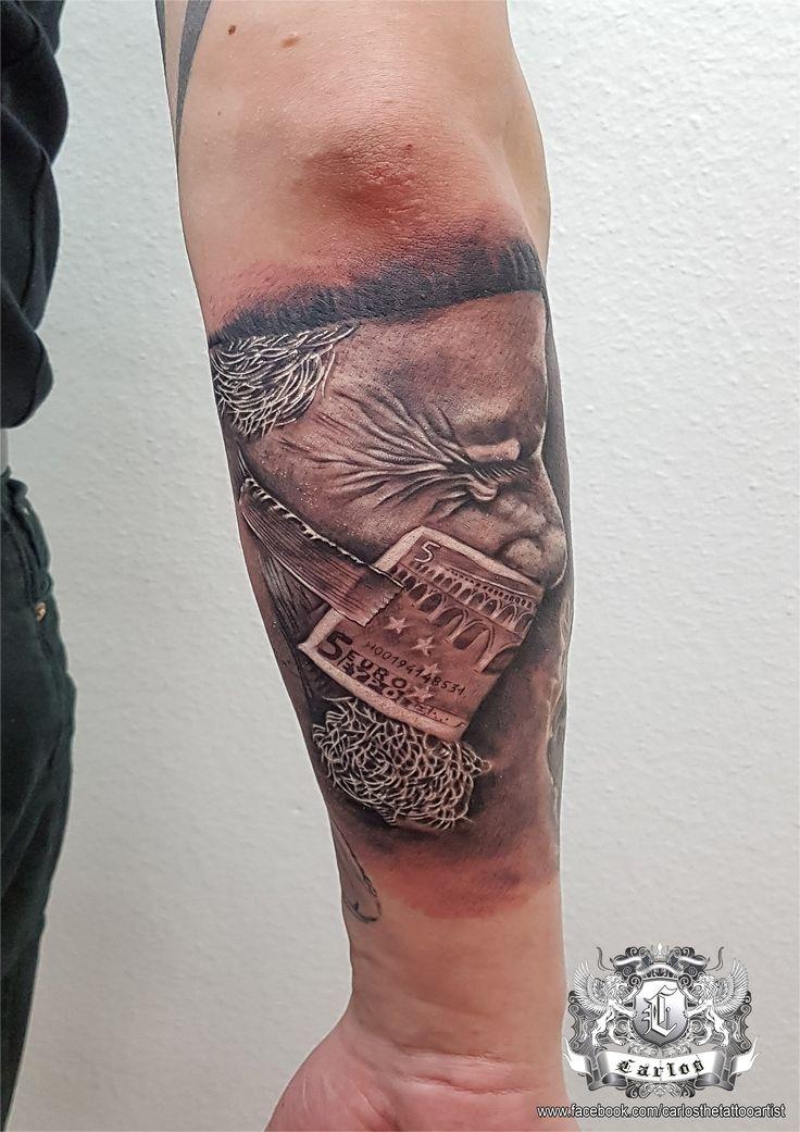 Old man, Euro money, Black and Grey tattoo, Realistic tattoo