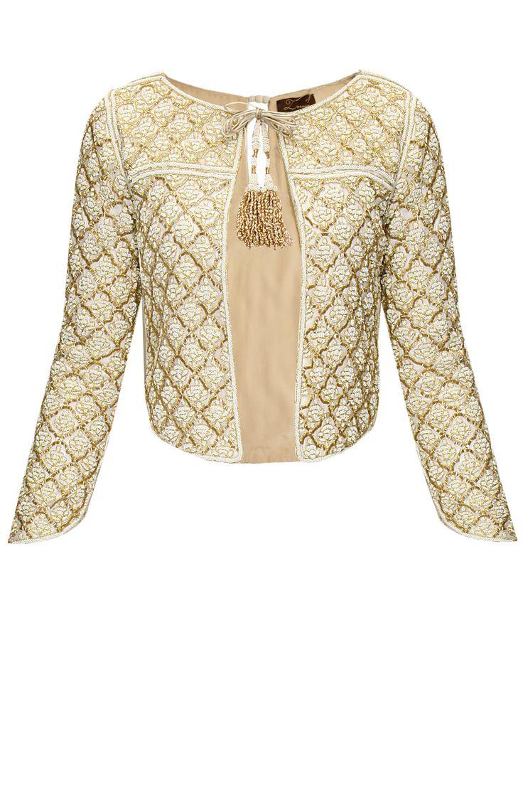 Ivory pearl jacket with front tassel tie-up by Zoraya. Shop now: http://www.perniaspopupshop.com/designers/zoraya-by-dipti-a-sawardekar