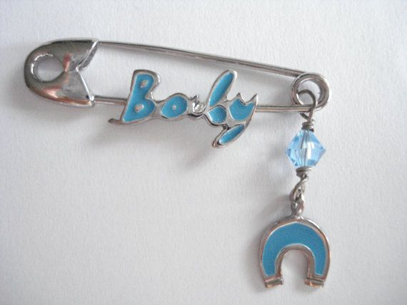 Baby boy safety pin Baptism gift boy Godmother gift by Poppyg