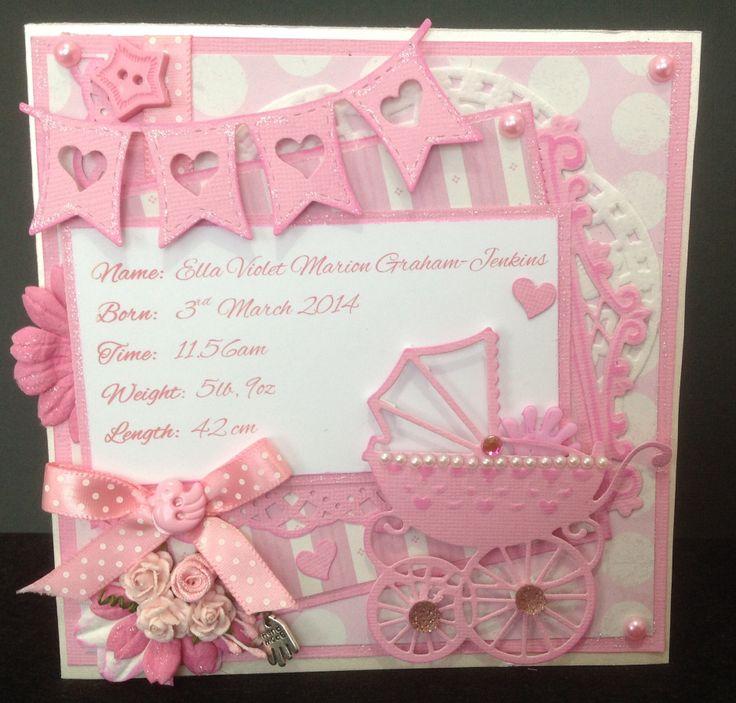 Custom order ....Handmade Baby Girl Card :) with baby pram,ribbon, and banner