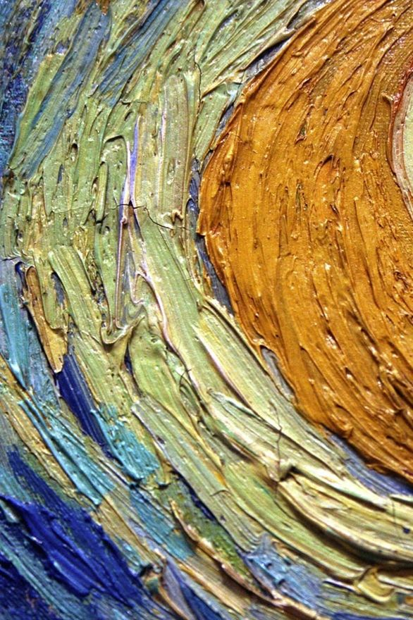 detail of:    Van Gogh's Starry Night. Example of his texturing/layering of paint- so brilliant!