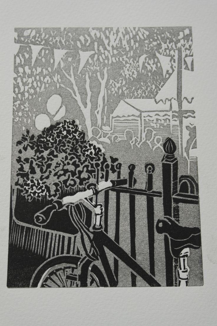 Moseley Farmers' Market. Sarah Moss. Lino Cut