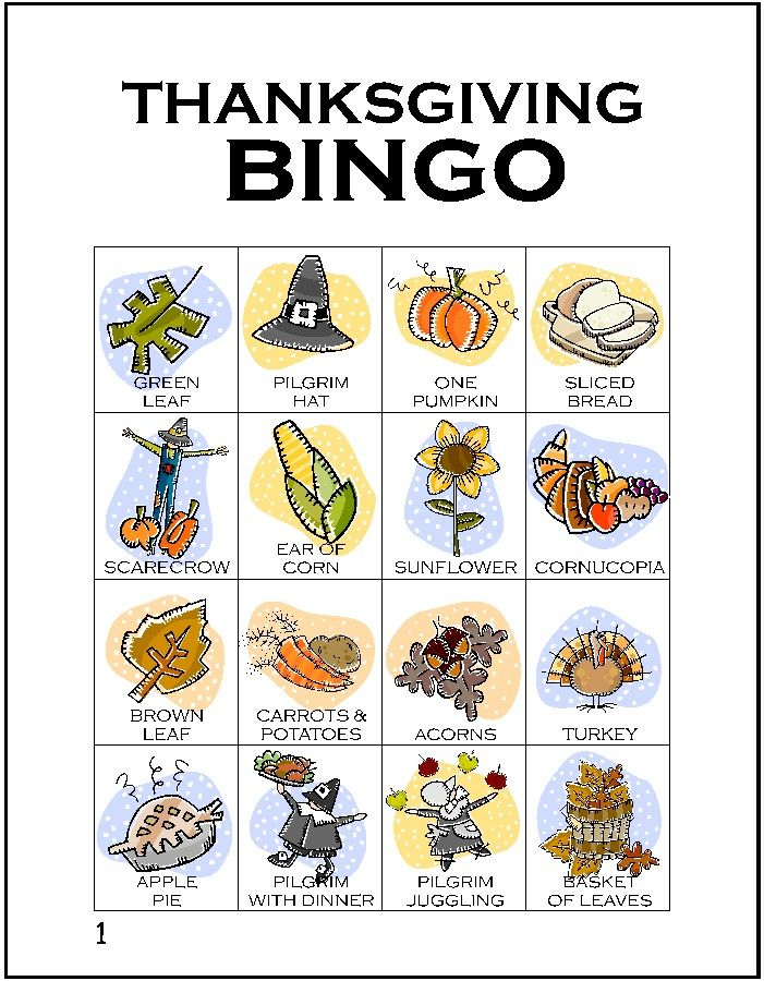 Thanksgiving Bingo and cute free printable activity placemats from All for the Boys