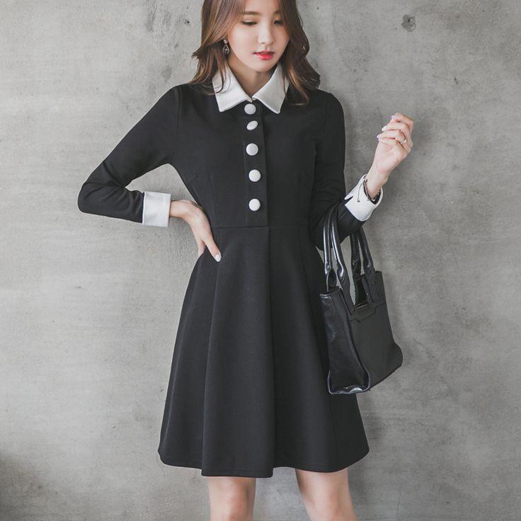 ワンピース・ドレス - 通勤OL折り襟Aラインワンピース