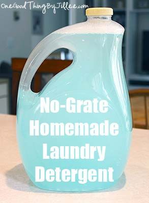 No grate homemade laundry detergent. Uses dawn dish soap in the recipe.