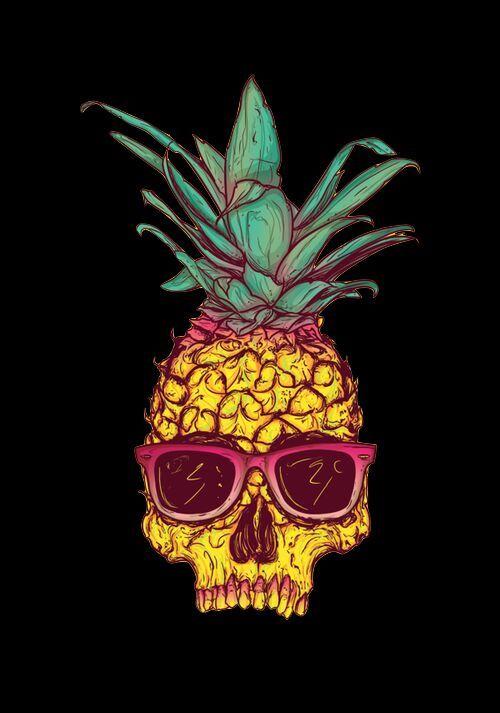 Trippy Iphone Wallpaper Pineapple Skull Tatuaje De Pi 241 A Tatuaje Tropical Y