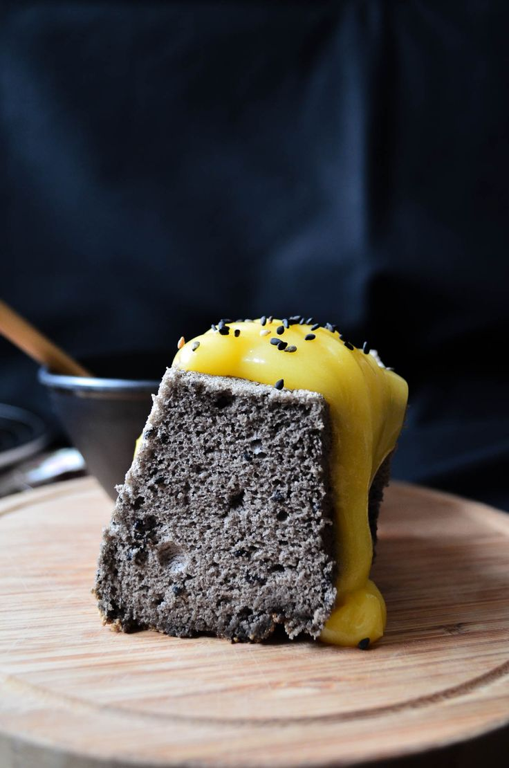 black sesame chiffon cake with lemon & keffir lime curd | vanillyn