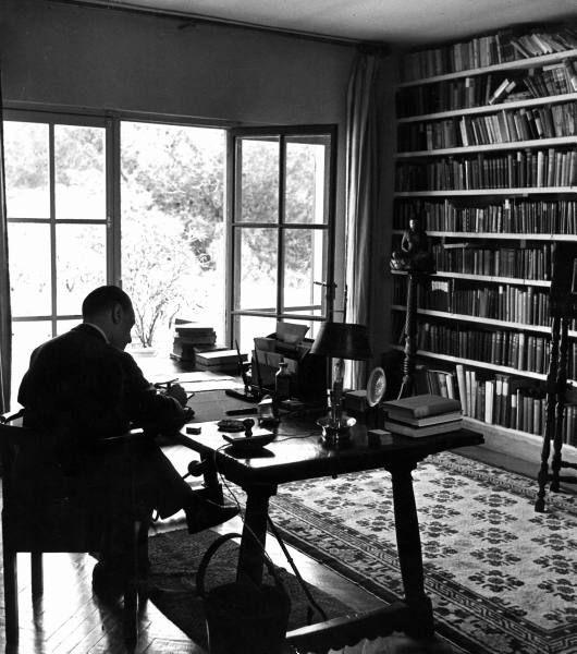 W. Somerset Maugham at his desk at the Villa Mauresque, Cap Ferrat, 1939.