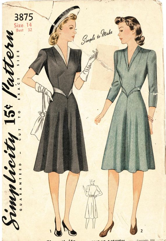 Rare 1940s Simplicity 3875 Sewing Pattern size by SubversiveFemme