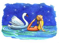 The ABCs Yoga for Kids by Teresa Anne Power, illustrated by Kathleen Rietz: 'Swan Pose - I am a beautiful swan.  My neck is graceful and long.  Starting on my belly,  I straighten my arms  and bend my knees  Folding myself backwards,  but only as far as I please.  I aim the top of  my head toward my toes,  Arching just as far  as my back naturally goes.'  #Yoga #Kids #The_ABCs_of_Yoga #Teresa_Anne_Power #Kathleen_Rietz