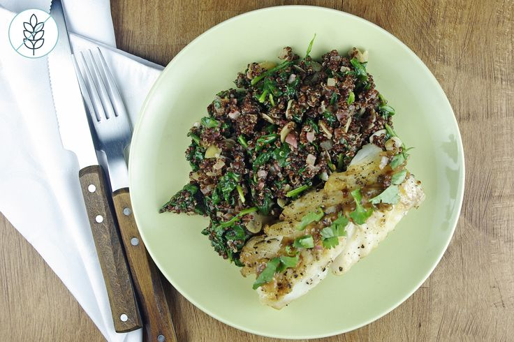 Morue de l'Atlantique et Vinaigrette de Xérès avec Salade Tiède de Quinoa Rouge