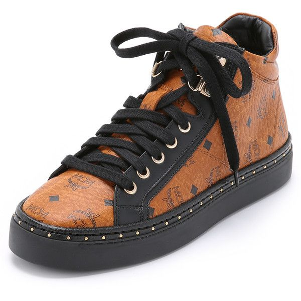 MCM Mid Top Sneakers ($740) ❤ liked on Polyvore featuring shoes, sneakers, cognac, lacing sneakers, print shoes, leather trainers, mcm and genuine leather shoes
