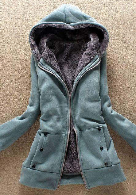 Laconic Hooded Zipper Design Coat