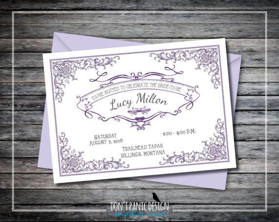 Printable Bridal Shower Invitation - Elegant, Vintage Inspired Lavender Invitation - Elegant Purple Baby Shower - French Chic - Custom Color