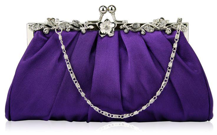 Purple Diamante Crystal Evening Satin Clutch Bag