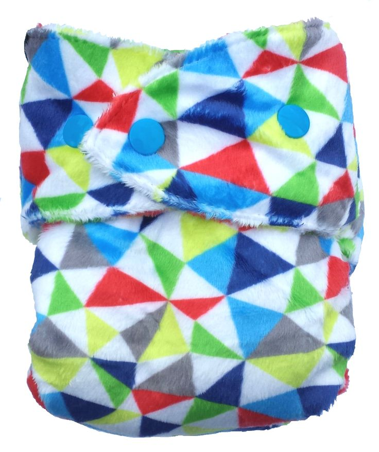 Bum Rarpz minky cloth nappy in Bravura print. Featuring blue, navy, green, citrus yellow, grey and candy red geometric triangles and set on a super soft white minky background. NZ designed minky fabric from The Print Baker and custom milled for Rarpz Design - in stores now!