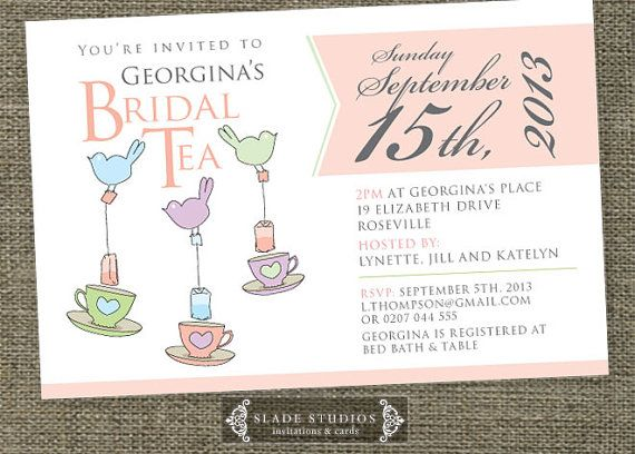 Bridal Tea invitations. Bridal Shower invitations by SladeStudios, $20.00