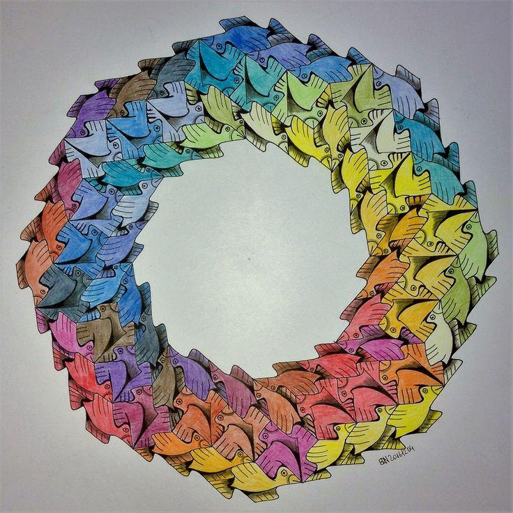 #tessellation #tiling #geometry #symmetry #pattern #handmade #Escher #birds #Escher #mathart #regolo54 #ottagono #structure #circle #disk #pencil