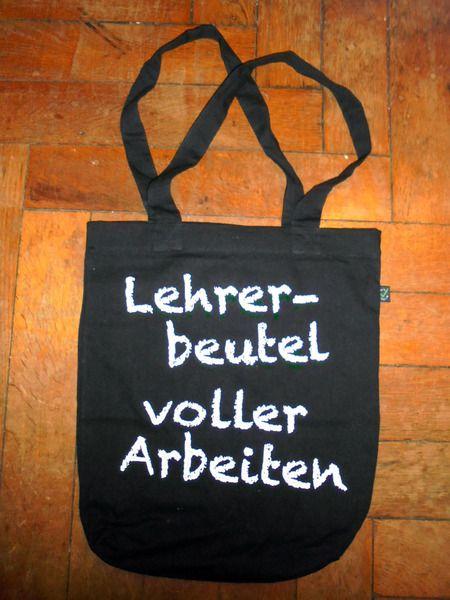 Stoffbeutel - Lehrer-Beutel voller Arbeiten, Schwarz - ein Designerstück von Lehrerbeutel bei DaWanda