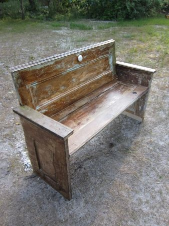 Bench made from recycled old doors